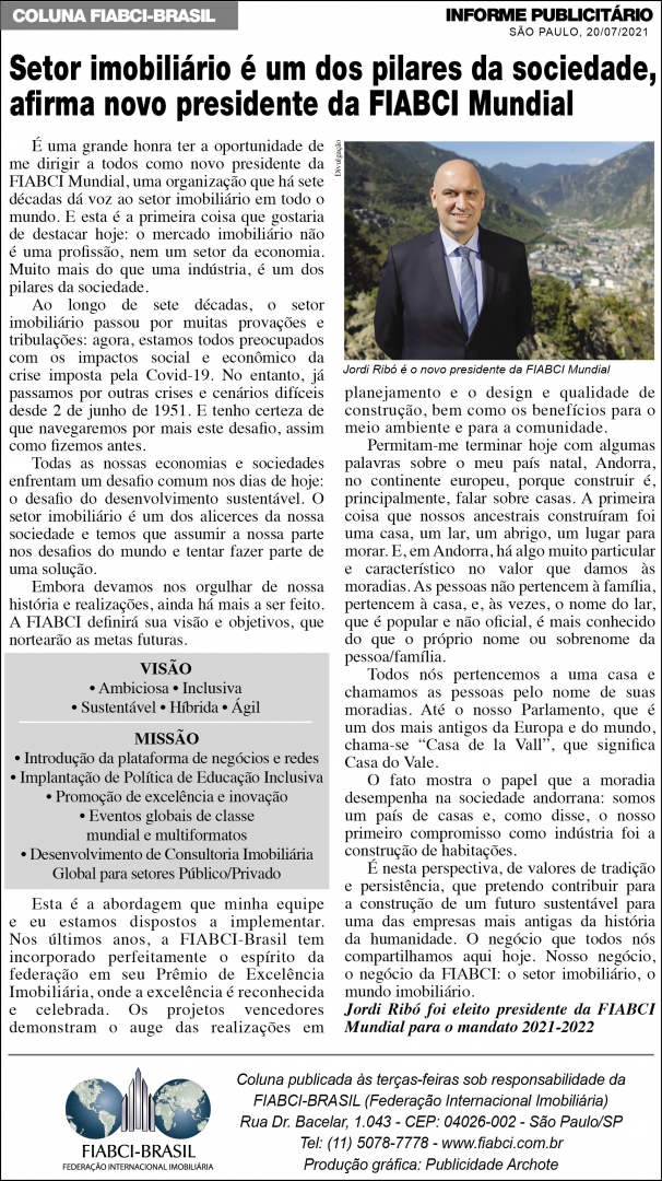 Latest FIABCI-Brasil weekly column in O Estado de São Paulo